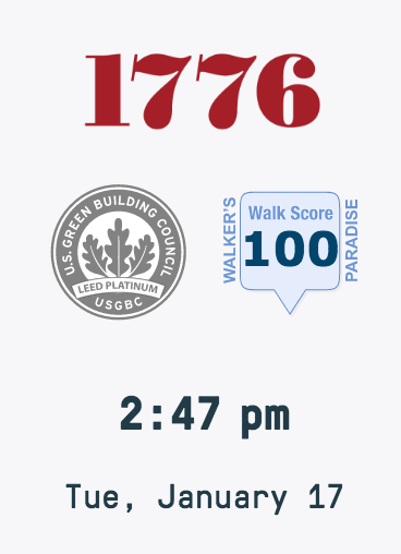 1776 Logo with LEED platinum and 100 Walk Score