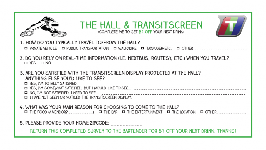 The Hall and TransitScreen Survey